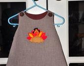 Custom Handmade Brown Gingham A-line Dress with Turkey Applique