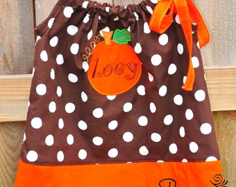 Custom Boutique Fall Brown Dot and Orange Pillowcase Dress with Pumpkin Applique--Sizes 0-12 months through 8 years
