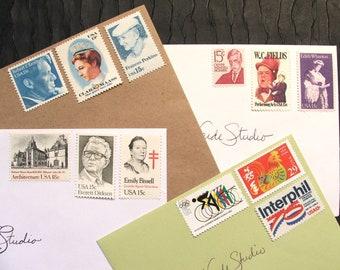 GRAB BAG .. random eclectic mix .. UNused Vintage Postage Stamps .. to post 50 envelopes