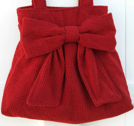 Red Bow Bag / Purse w/ Double Handles
