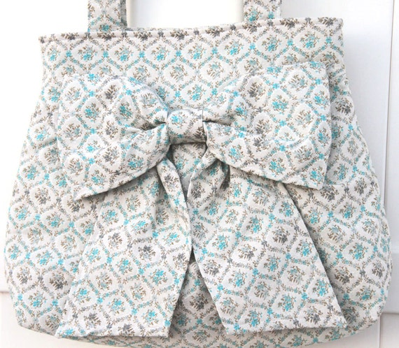 Clearance--Vintage Floral Bow Bag / Purse w/ Double Handles--Cream/teal floral , Last one available