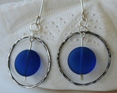Dark Blue sea glass earrings with a dark patina