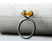 Citrine Ring oxidized sterling silver - yellow stone semipreciouse gemstone - princess Ring