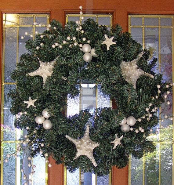 Beach decor christmas wreath starfish faux by