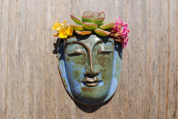 buddha ceramic wall planter garden art mask face planter plant pocket