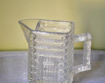 Vintage Faux Bois Pitcher - Log Cabin Glassware - Central Glass Works