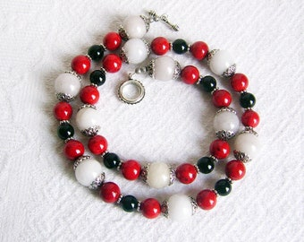 Long Red, White, Black, and Silver Necklace and Earrings