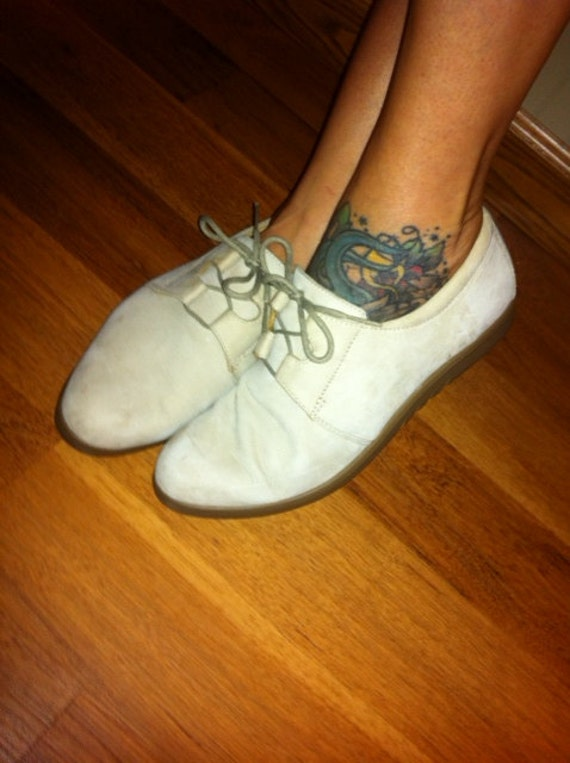 Vintage 80s 90s Taupe Brushed Leather Lace-up Rockport Oxford's...
