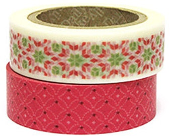 Decollections Masking Tape - Red & Green Mosaic - Set 2 - Scarlet