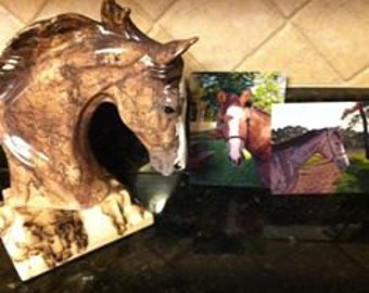HORSE HAIR POTTERY- personalized-custom painted to look like your horse Pet Memorial