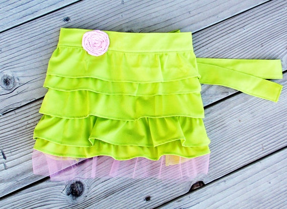 Little girl ruffle half apron in green with pink tulle