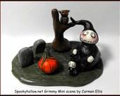 Halloween miniature Grimmy Reaper graveyard scene