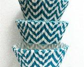 Aqua Teal Chevron ZigZag Cupcake Liners Standard Size 50 per pack