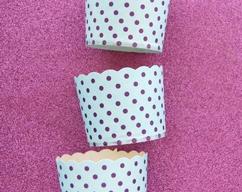 Baking Cups in Baby Blue and Purple Polka Dots (24)
