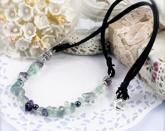 Focusing and intellect enhancer necklace (unisex) - hematite and fluorite