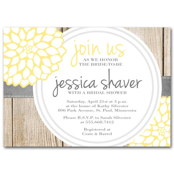 Bridal shower invitation, Yellow and gray baby shower invitation, printable digital DIY, pretty floral for spring wedding
