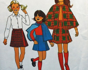 Vintage 1970s, Sewing Pattern, Simplicity 7743, Girls' Size 14, Cape and Pleated Shirt