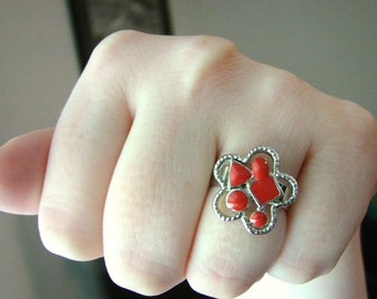 Silver and cherry red flower ring- fully adjustable