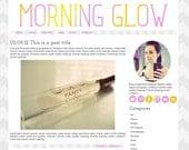 Self-Hosted Wordpress Premade Blog Theme: Morning Glow, chevron, social media, icons, pink, purple, yellow, orange, minimalist