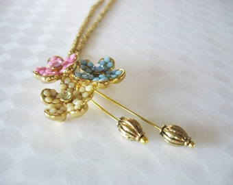 Flower Trio Pendant Necklace Yellow Pink Blue Rhinestones Dangle