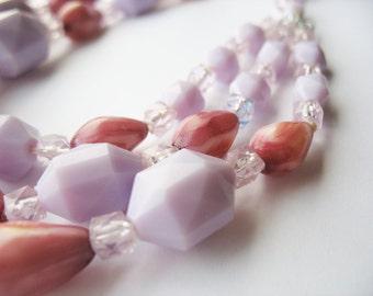 Purple Beaded Necklace Triple Strand Lavender Plum W. Germany