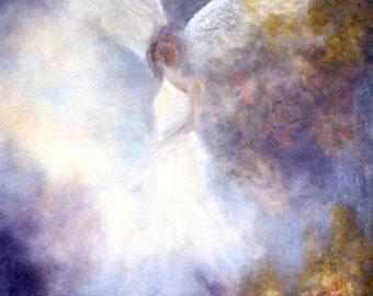 Guardian Angel Art Print, Angel Print, Angel Art, Spiritual Wall Art,