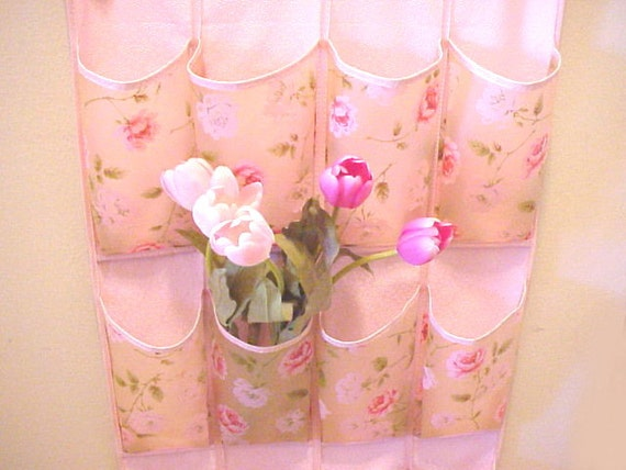 barkcloth era shoe organizer hanging pocket bag vinyl pink
