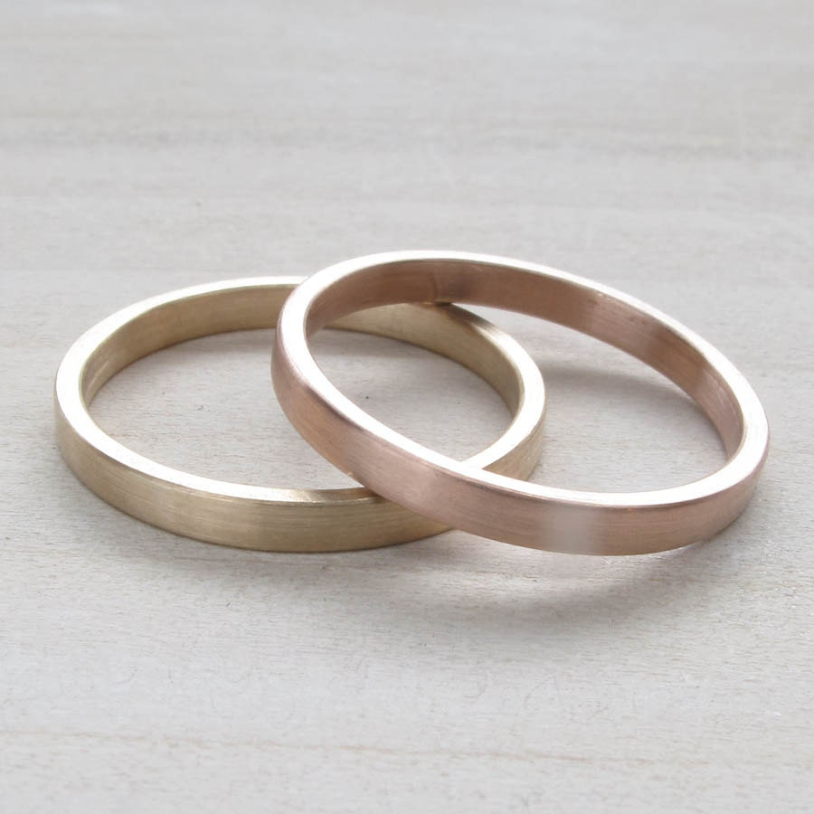 Hers And Hers Wedding Band Set 2x1mm Bespoke Recycled