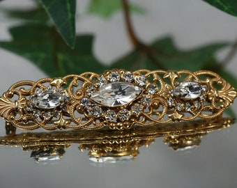 Miriam Haskell Vintage Goldtone and Rhinestone Brooch