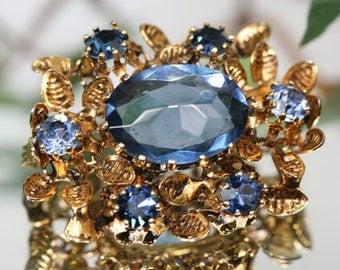 Vintage Goldtone and Blue Glass Brooch- Austria