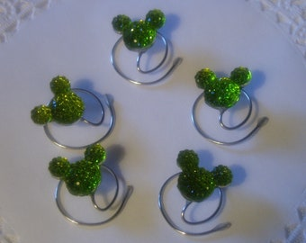 MOUSE EARS Hair Swirls for Disney Wedding in Dazzling Lime Green Acrylic