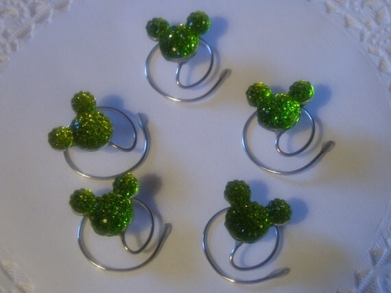 MOUSE EARS Hair Swirls for Disney Themed Wedding in Dazzling Lime Green Acrylic Hidden Mickey