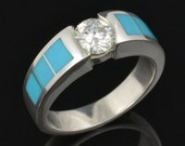 Turquoise engagement ring or wedding ring with Moissanite in sterling silver