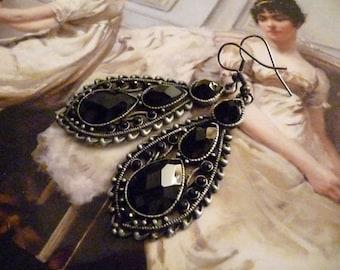 Antique Earrings, Rhinestone Earrings, Dangle Earrings, Black Earrings - The Luciana Earrings