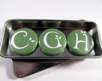 Initial Magnets Set / Green Leaf Font / Monogram Magnets