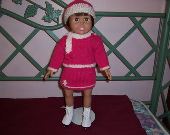 Hand Knitted 18 inch Doll Skating Outfit