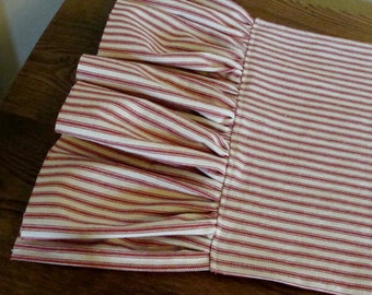 Ruffled Ticking Striped Table Runner - Raw Edge Ruffle - Select Your Length & Color