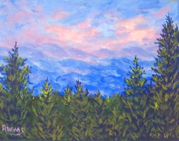 Blue Landscape Painting Blue Ridge Mountains Landscape