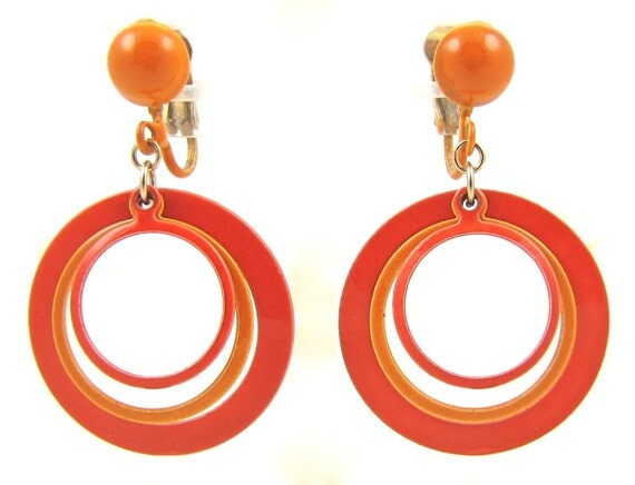 RESERVED Hoopla - Vintage 1960s Mod-A-Go-Go Dangle Earrings with Two-Tone Orange Concentric Circles, Enameled Triple Hoop, Clip On Backs