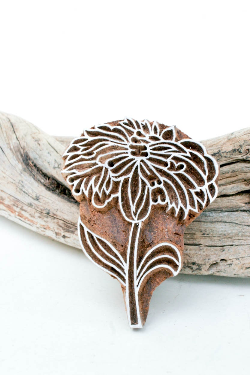 Hand carved stamp flower by tataindianwoodstamps on etsy