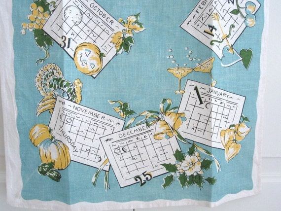 SOLD to JANE Any Year Vintage Tea Towel Calendar