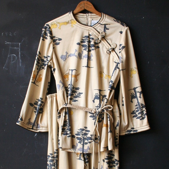 Please Reserve Vintage 60s Pant Suit Asian Style with Deer and Tree motif
