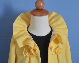 Ruffles & Roses Girls Fleece Coat Pattern with Ear Warmer  PDF Sewing Pattern ... UPDATED