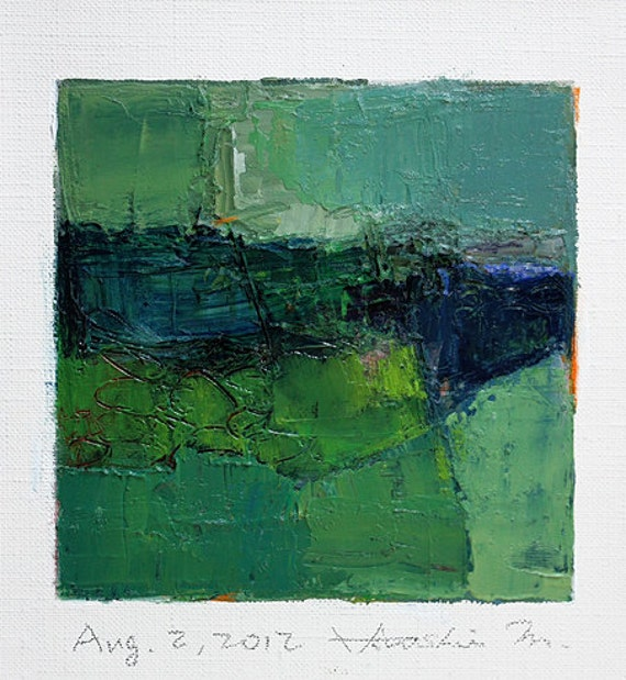 Aug. 2, 2012 - Original Abstract Oil Painting - 9x9 painting (9 x 9 cm - app. 4 x 4 inch) with 8 x 10 inch mat