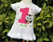 Personalized Owl Toddler Girls Birthday Dress