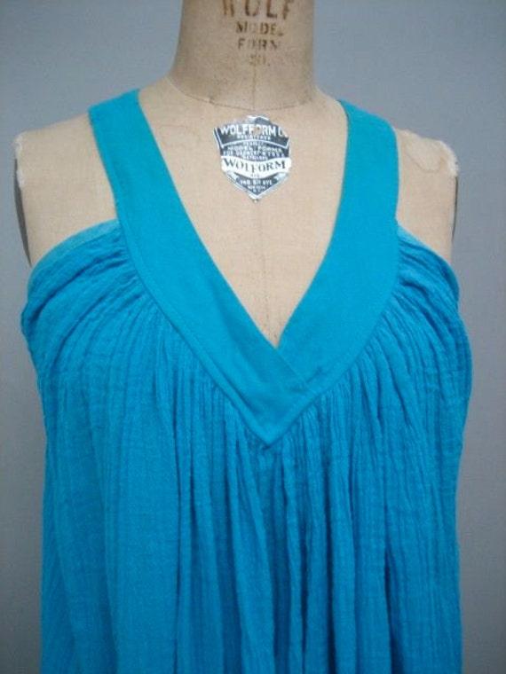 vintage turquoise cotton gauze maxi/patio dress OSFM