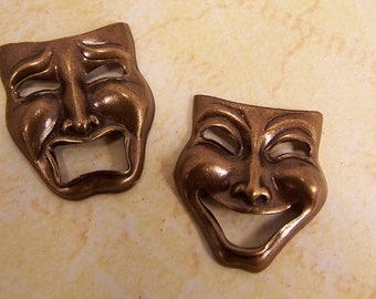 Antiqued Brass Charms, Comedy Tragedy, Happy Sad Face, Theater Masks, Scrap Book Embellishment, Jewelry Making Supplies, Findings, Made USA