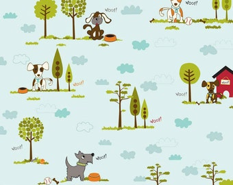 Puppy Park -- Blue by Riley Blake Designs - dogs, trees