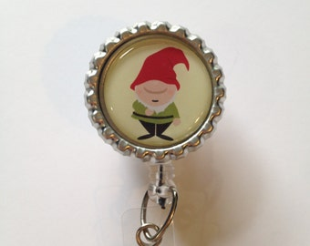 Gnome Retractable Id Badge Reel, Bottlecap Id Holder, Id Reel Name Badge Holder, Nurse Badge Reel