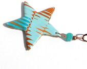 Star Hanging Ornament Aqua and Orange Polymer Clay